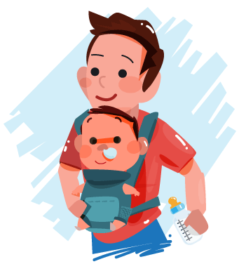 Dad and Child with Cold Illustration